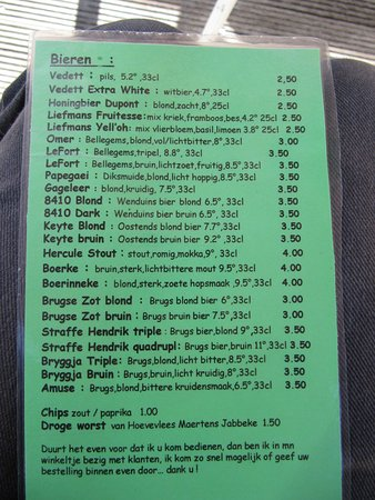 Jabbeke, Belgien: Beer menu