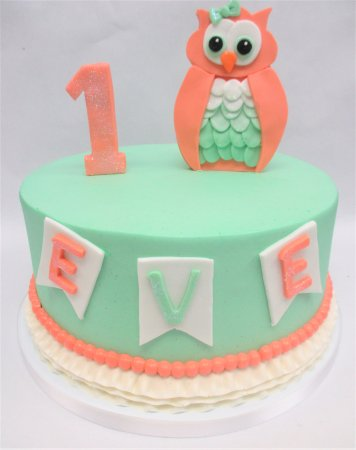 Flavor Cupcakery Bake Shop Owl 1st Birthday Cake By