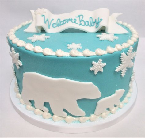 Groovy Polar Bear Baby Shower Cake By Flavor Cupcakery Picture Of Funny Birthday Cards Online Fluifree Goldxyz