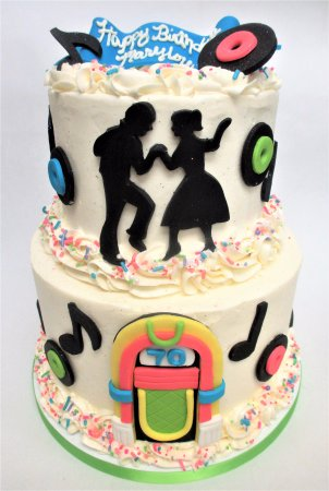 Admirable Sockhop Themed 70Th Birthday Cake By Flavor Cupcakery Picture Of Funny Birthday Cards Online Amentibdeldamsfinfo