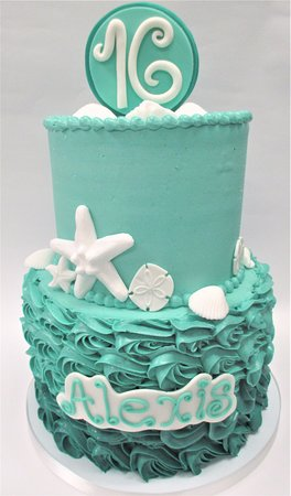 Stupendous Beach Themed 16Th Birthday Cake By Flavor Cupcakery Picture Of Funny Birthday Cards Online Unhofree Goldxyz