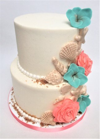 Super Beach Themed Wedding Cake By Flavor Cupcakery Picture Of Flavor Funny Birthday Cards Online Elaedamsfinfo