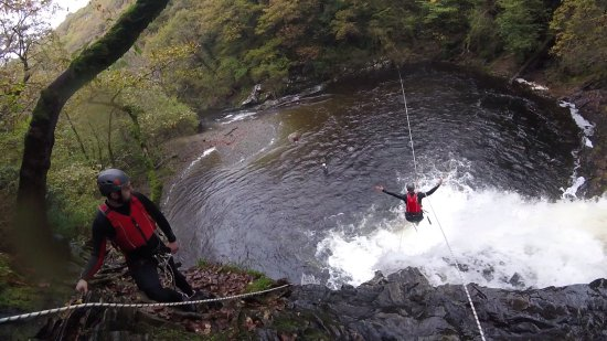 Harlech, UK: Zip Wire from a Waterfall!!