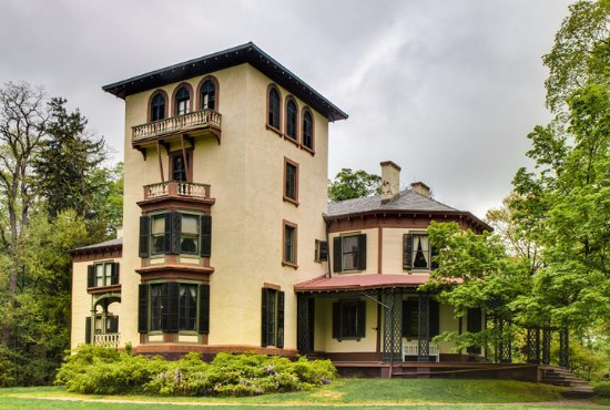 Poughkeepsie, NY: Locust Grove's grand tower faces the Hudson River.
