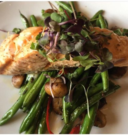 Grilled salmon with seasonal veggies