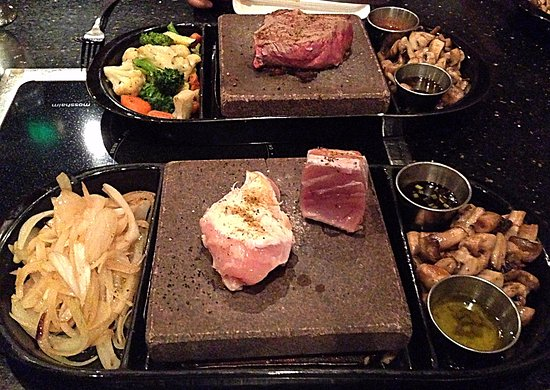 ROK bistro: Ahi with Sirloin in the back....