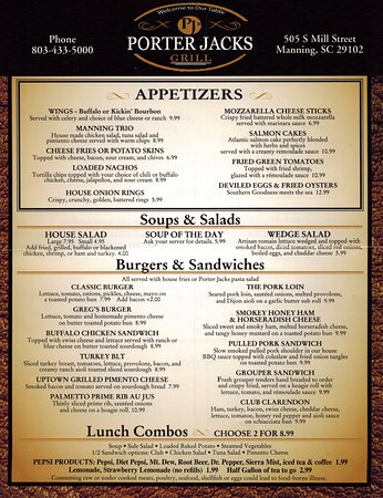 Manning, SC: Front side of menu (take home copy given to any customer who asks)