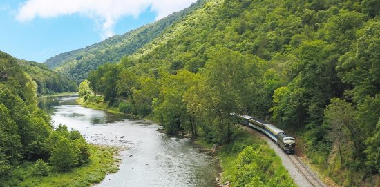 Romney, WV: Aerial view of the train as it travels along the South Branch of the Potomac River
