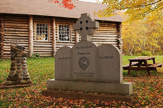 Pictou, Canada: The Cameron Memorial next to the Loch Broom Log Church.