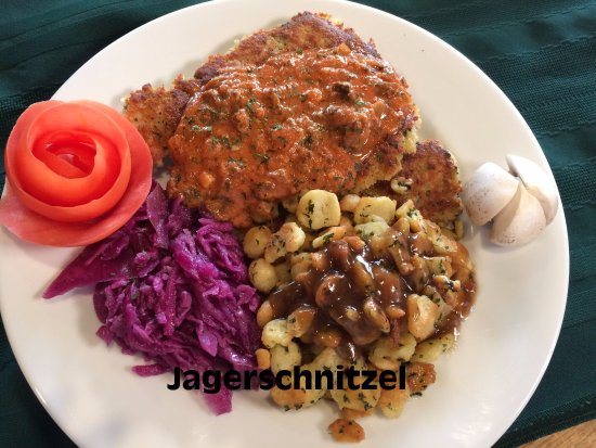 Grawn, MI: Jagerschnitzel, Braised red cabbage & Spatzels with gravy (Oktoberfest menu)
