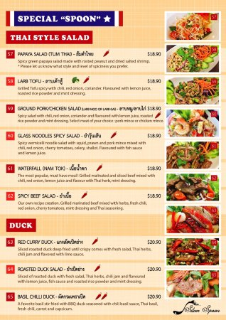 Nowra, Australien: Dinner Menu : Silver Spoon Thai Restaurant