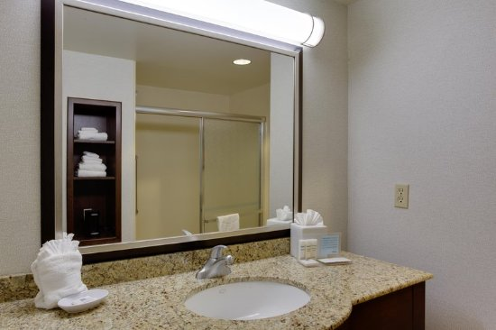 Hampton Inn Garden City: Bathroom sink and shower
