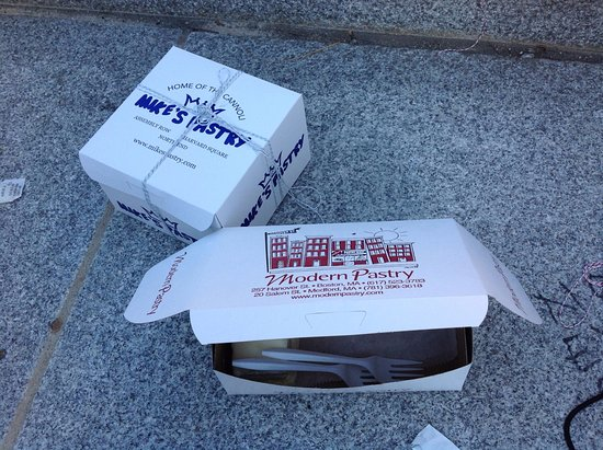 Modern Pastry Shop: Boxes from both places.