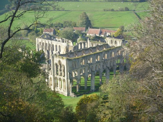 Helmsley, UK: Rievaulx Abbey from Rievaulx Terrace