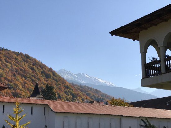 Secret Transylvania Guest House: View of Fagaras Mountains from Brancoveanu Monastery, Brasov taken on a visit to the monastery