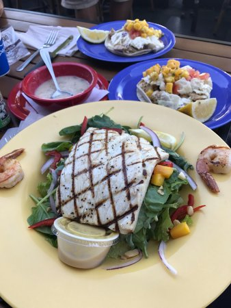 Cupertino, CA: Very tasty salad with mango and fish