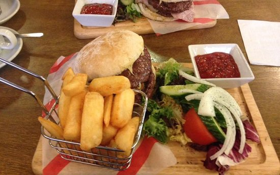 Laxey, UK: Double cheeseburger and chunky chips anyone?