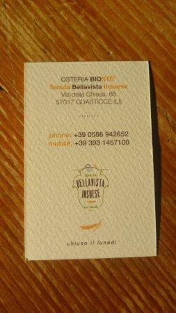 Guasticce, Italia: biglietto da visita retro