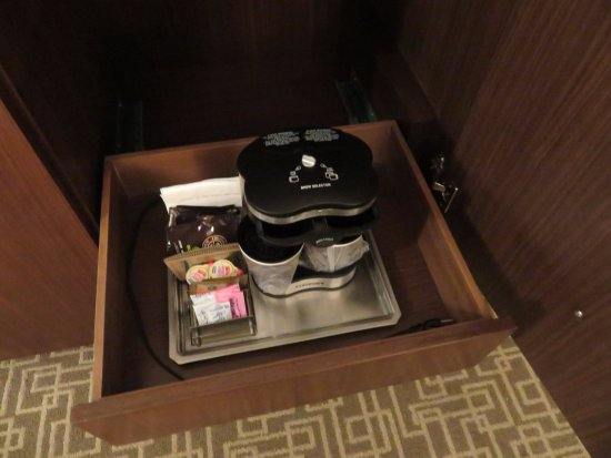 Dedham, MA: Coffee kit in drawer inside cabinet, must remove to plug it in somewhere.
