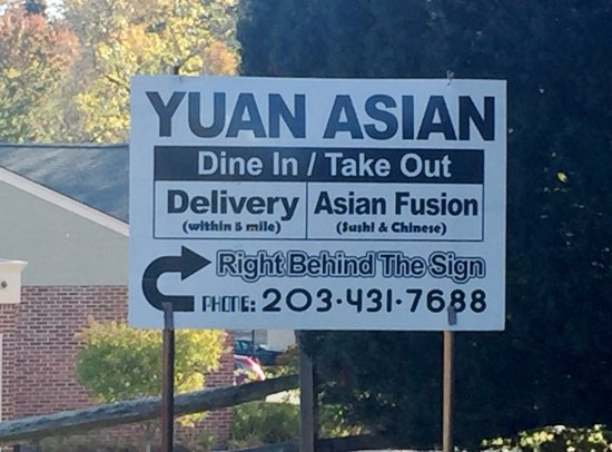 Yuan Asian Cuisine - Street Sign, Ridgefield CT