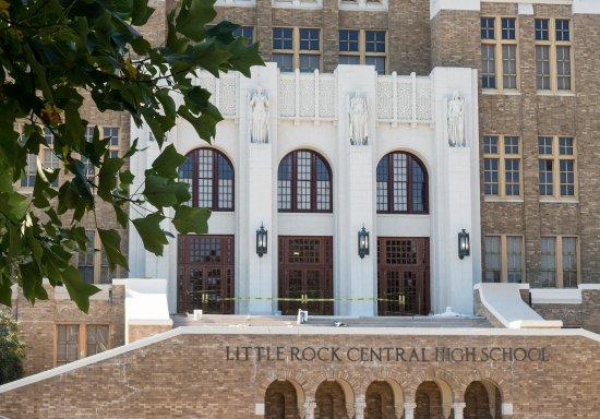 Little Rock Central High School: The main entrance to Little Rock High School.