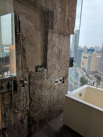 Park Hyatt Seoul: Granite wall, so perfect. Rain shower that works with great pressure