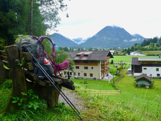 Reutte, Austria: Looking down on the hotel from the trailhead above