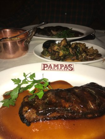 Pampas Steakhouse: The steaks are delicious, a side order of flash fried Brussels sprouts and cauliflower is the be