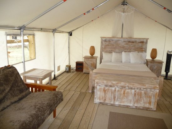 Dinosaur Provincial Park Comfort Camping: Premium site with queen bed