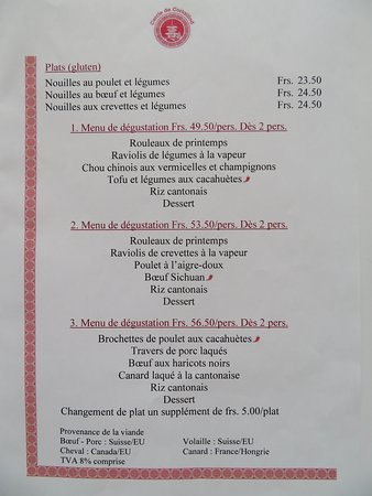 Cortaillod, Suiza: Carte de menu