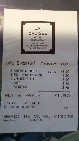Boudevilliers, Suiza: Repas 2 personnes