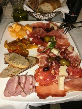 Waltham, MA:  Charcuterie of Salumi, Prosciutto, Melon, Pâté, Olives, Parmigiano Reggiano, and Peppers