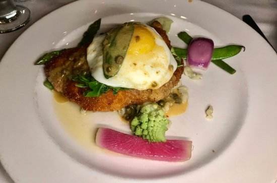 """Waltham, MA: Giannone Chicken """"Schnitzel"""" with Fried Egg, Arugula, Mustard-Caper Sauce and Herbed Spätzle"""