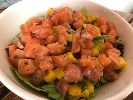 Alsur Café (Llúria): Halloumi sandwich (best item); banana bread French toast; quinoa salad; salmon mango salad; pata