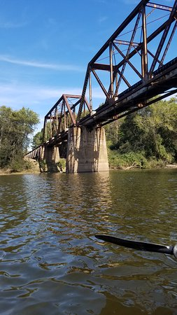 Lillington, NC: Going under the train tracks in the kayak