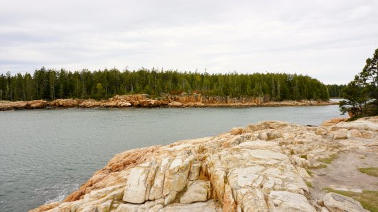 Bass Harbor, ME: Looking over rocks to other side of cove