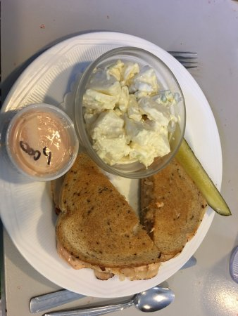 T. Burk & Co. Deli Restaurant: Reuben sandwich with house made potato salad