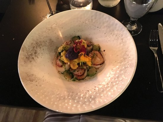 Lafayette, IN: Scallops with lentils, charred cauliflower and brussel sprouts