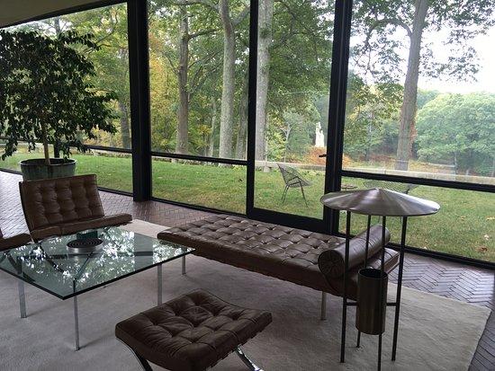 The Philip Johnson Glass House: Living Area. Original Mies van der Rohe funiture.