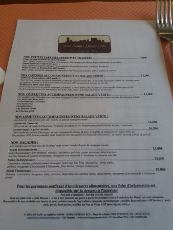 Turenne, Francia: the menu