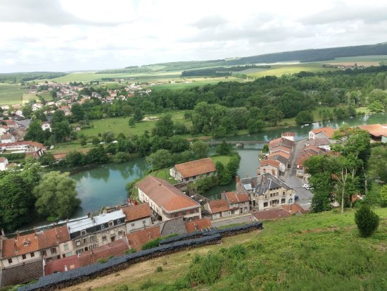 Dun-sur-Meuse, France : looking down from the church above the town, two wheels is just to the left out of picture