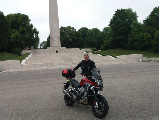 Dun-sur-Meuse, France : myself and bike at an American memorial
