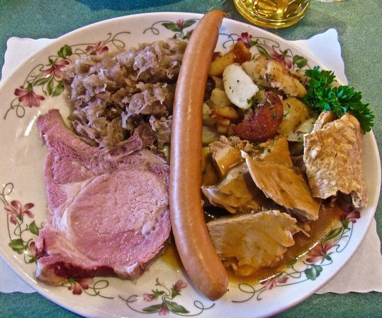Glendale Heights, IL: The 'Oktoberfest Plat' has a generous & tasty, a smoked chop & roast pork, sausage, potatoes & r