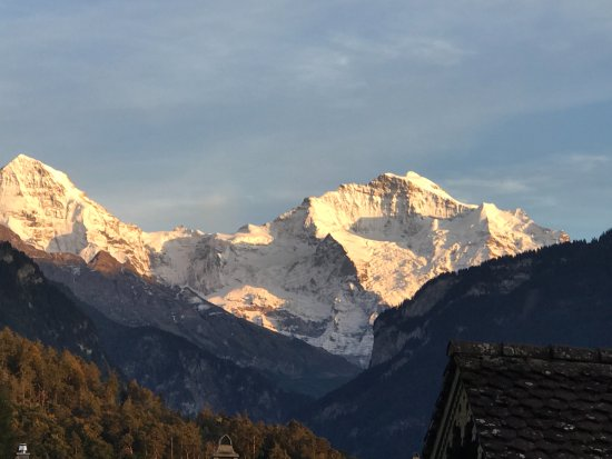 Hotel Beausite: Eiger & Jungfrau sunset photo from hotel room using iPhone.