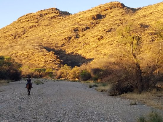 Windhoek, Namibia: Riding through a river bed during the dry season