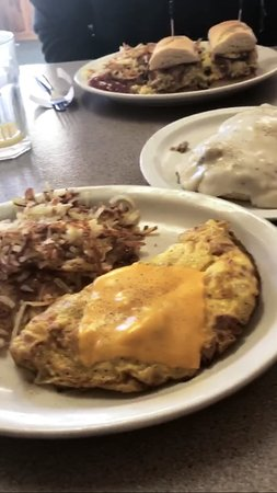 Absarokee, MT: Ham and cheese omelet, biscuits and gravy, dagwood