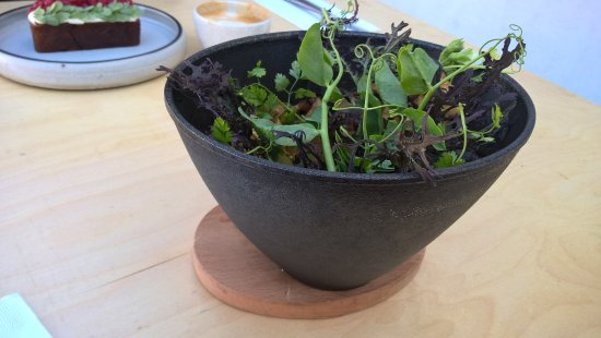 Culver City, CA: Hot cast iron bowl with magnetic wooden base (it looks like a salad but is egg and grain)