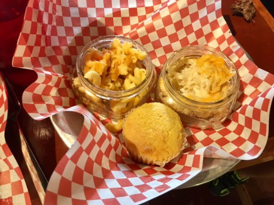 Firehouse BBQ: The Firehouse's sides - mac&cheese, cheesy potatoes, corn bread