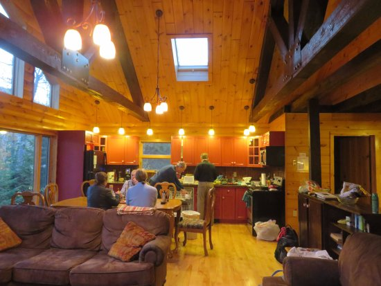 Greenville, ME: The great room in Loon Lodge, sorry we're a little messy!
