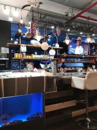 Bayside, Estado de Nueva York: Fish and brew on ice: The bar over lobster tank